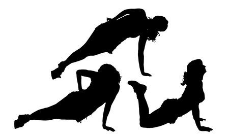 fortalecimiento: Vector silueta de una mujer que practica en el fondo blanco.