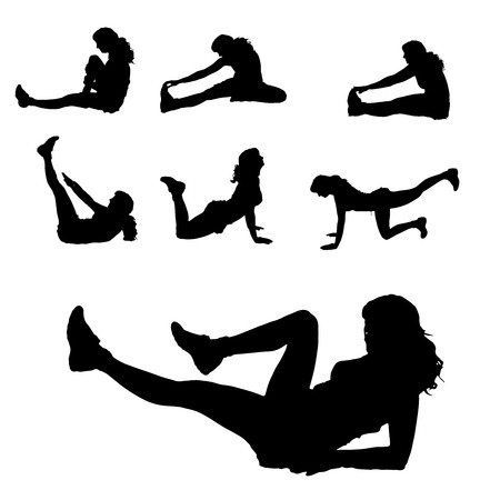 strengthening: Vector silhouette of a woman who practices on white background.  Illustration