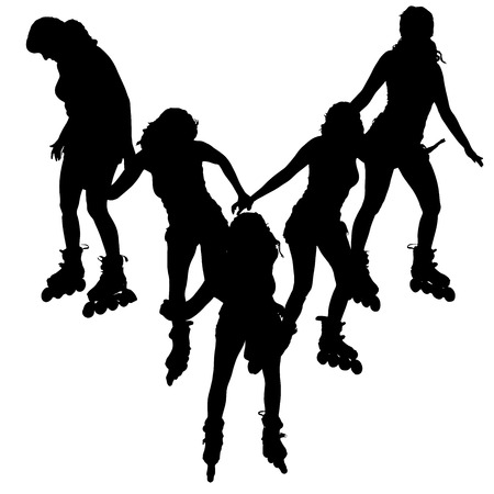 rollerblade: Vector silhouette of a woman on roller skates. on roller skates.