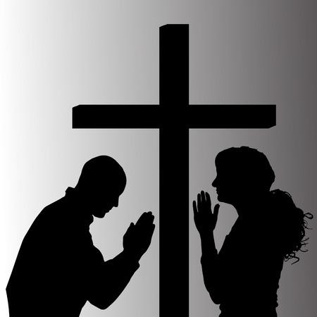 mujer orando: Vector silueta de las personas que están rezando en la cruz.