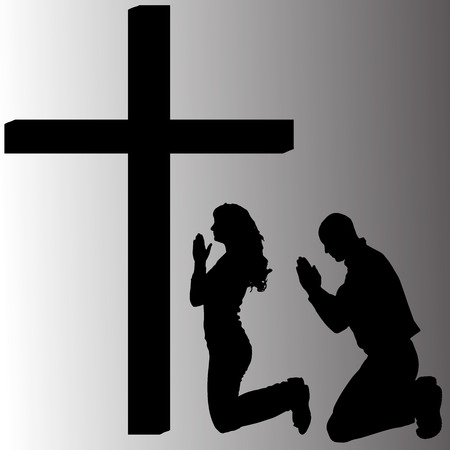 Vector silhouette of people who are praying at the cross.