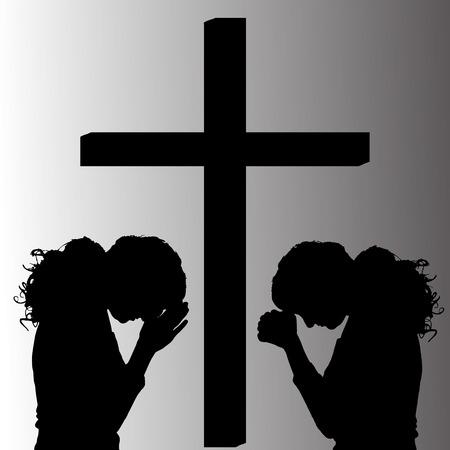Vector Silhouette von Menschen, die am Kreuz beten. Standard-Bild - 26908110