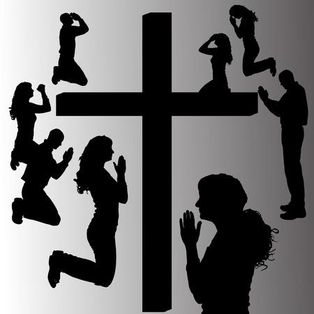 omini bianchi: Vector silhouette di persone che pregano alla croce. Vettoriali