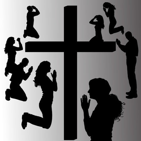 jesus praying: Vector silhouette of people who are praying at the cross.