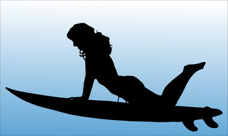 surfboard: Vector silhouette of a woman who surfs. Illustration