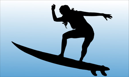 surfers: Vector silhouette of a woman who surfs. Illustration