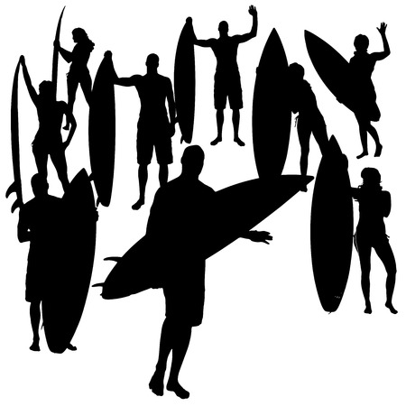 surfers: Vector silhouette of a people who surfs.
