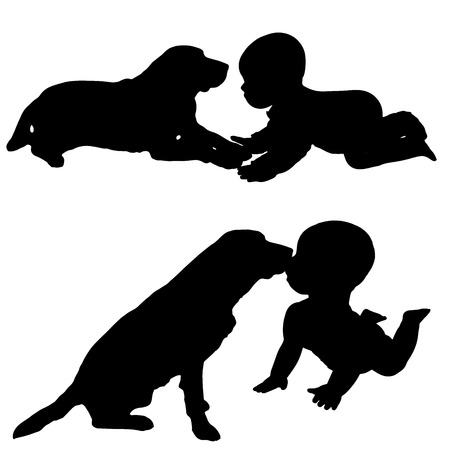 Vector silhouette of a toddler with dog. Vector