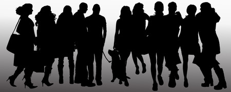 Vector people silhouette on a gray background. Vector