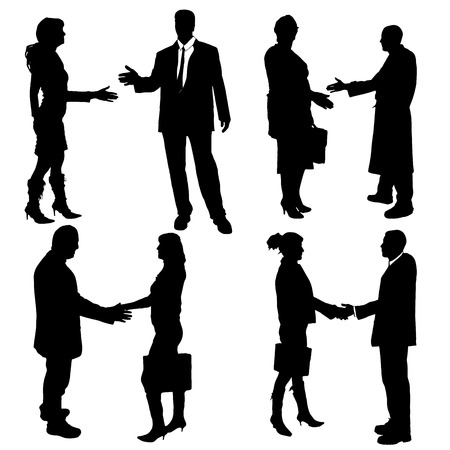 hand stand: Vector silhouette of business people on a white background.