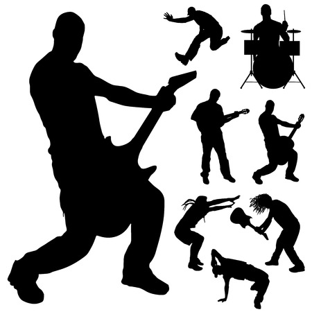 Vector silhouette of the band on a white background. Vector
