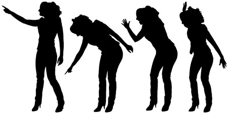 hassle: Vector silhouette of a woman on a white background.
