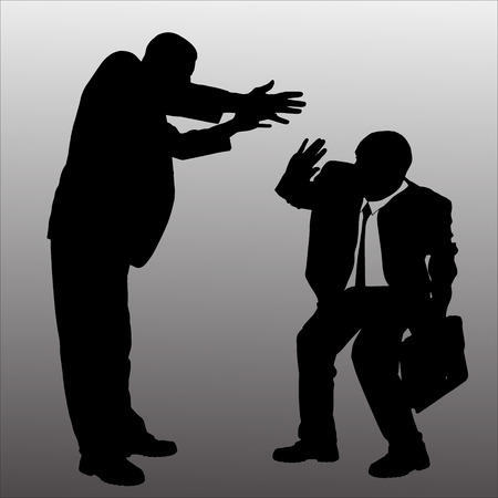 hassle: Vector silhouette of businessman on a gray background.