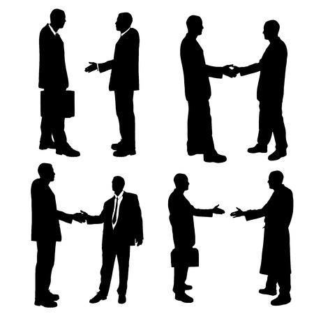 shaking: Vector silhouette of business people on a white background.