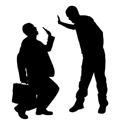 slap: Vector silhouette of businessman on a white background.