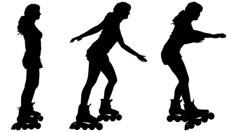 rollerblade: Vector silhouette of a woman on roller skates on white background.