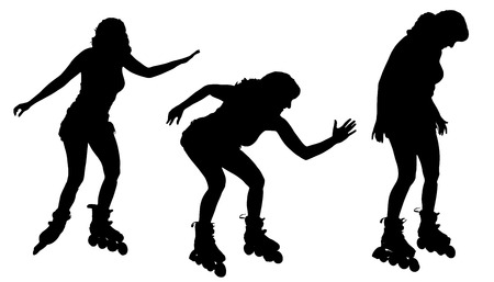 Vector silhouette of a woman on roller skates on white background. Vector