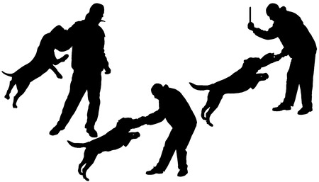 Vector silhouette of a man who trains the dog in defense. Vector