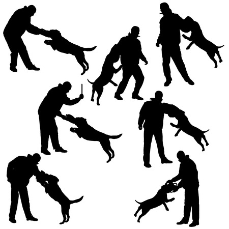 defence: Vector silhouette of a man who trains the dog in defense.