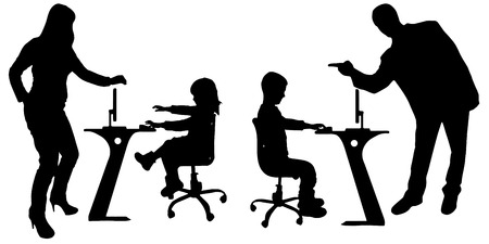 Vector silhouette of a people with a computer on white background. Vector