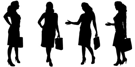 working woman: Vector silhouette of businesswoman on a white background.