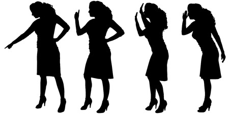 hassle: Vector silhouette of woman on a white background. Illustration