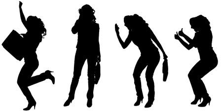 Vector silhouet van zakenvrouw op een witte achtergrond.