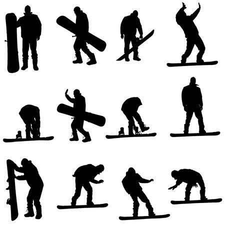 Vector silhouette of a man on a snowboard. Vector