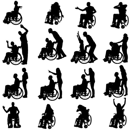 medicine wheel: Vector silhouettes of people in a wheelchair on a white background.