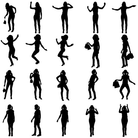 Vector silhouette of woman in different situations. Vector