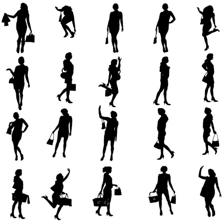 Vector silhouettes of woman on a white background. Vector