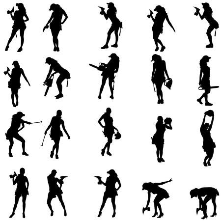 Vector silhouet van een mensen die werken met instrumenten op een witte achtergrond. Stock Illustratie