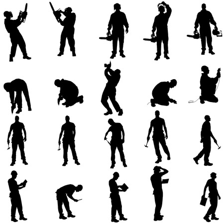 Vector silhouette of a people working with tools on a white background. Çizim