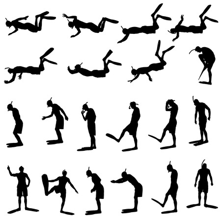 Vector silhouette of a man with flippers and a snorkel. Vector