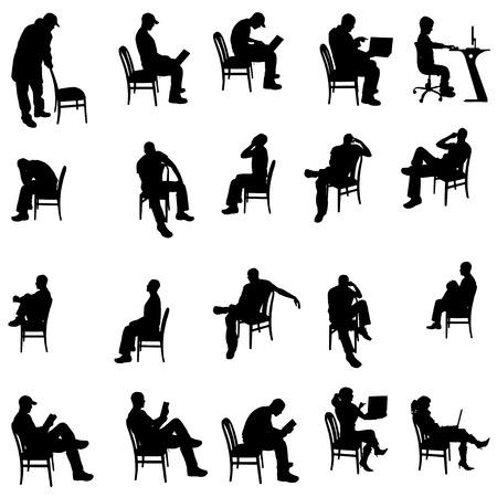 Vector silhouette di persone sedute su uno sfondo bianco. Archivio Fotografico - 27169700