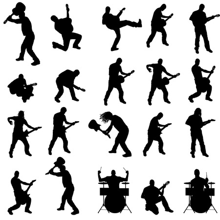 drum and bass: Vector silhouette of the band on a white background.