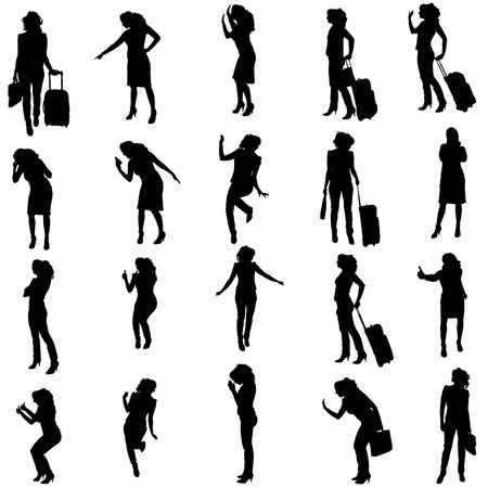 Vector silhouette of woman on a white background. Vector