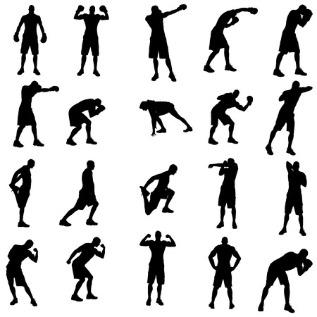Vector silhouette of a people who boxes. Vector