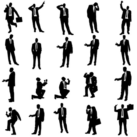 Vector silhouette of businessman on a white background. Vector