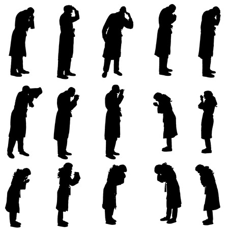 bathrobe: Vector silhouette of a people in a bathrobe on a white background.  Illustration
