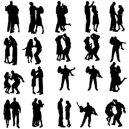 Vector silhouette of people who dance on a white background.  Ilustracja