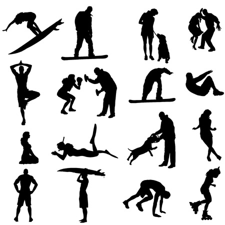 Vector silhouette of people in different sport. Vector