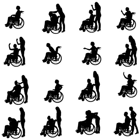 person: Vector silhouettes of people in a wheelchair on a white background.
