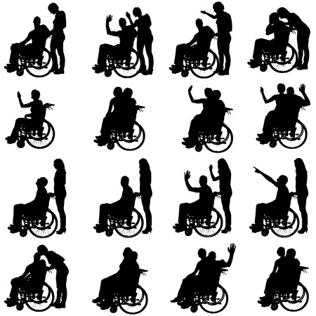 Vector silhouettes of people in a wheelchair on a white background.  Vector