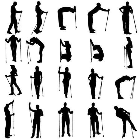 woman hiking: Vector silhouettes of people with walking bare on a white background.