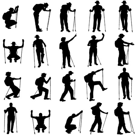 Vector silhouettes of people with walking bare on a white background.  Vector