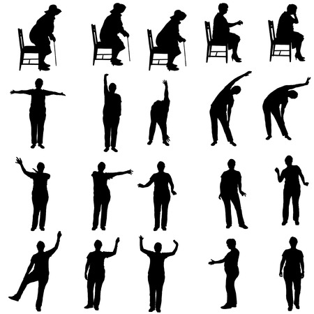 senior exercise: Vector silhouette of a woman who practices on white background.  Illustration