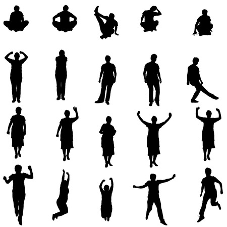 Vector silhouette of a woman who practices on white background.  Vector