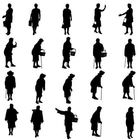 silhouette woman: Vector silhouettes of woman on a white background. Illustration