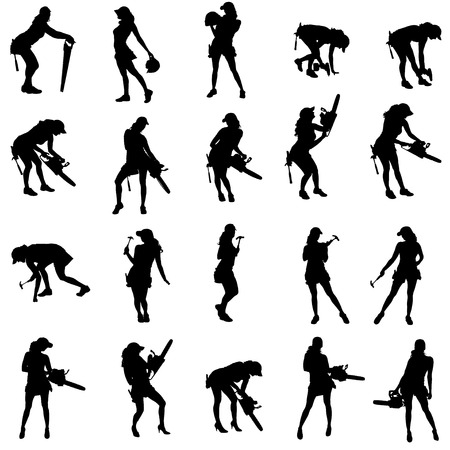 Vector silhouette of a people working with tools on a white background. Ilustracja